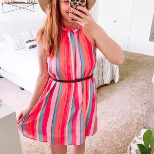 Pink Lily Coral Striped Dress